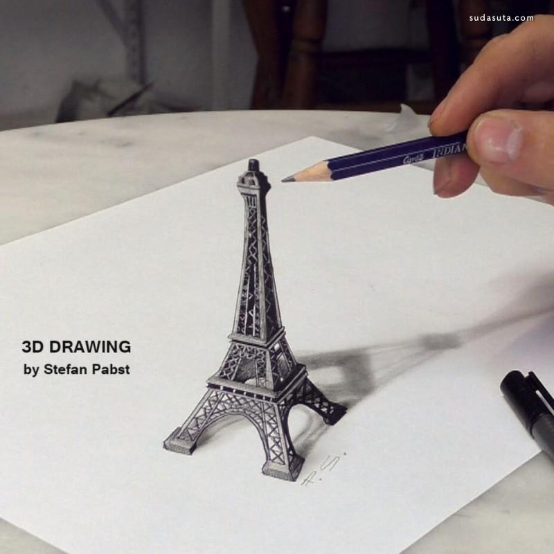 Stefan Pabst 不可思议的 3D 铅笔画