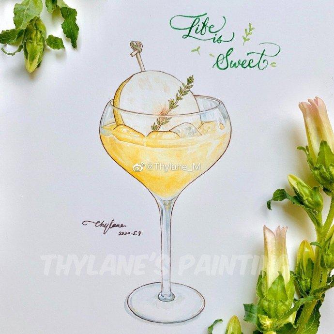 Thylane_M 冰凉夏日 手绘冰激凌饮料