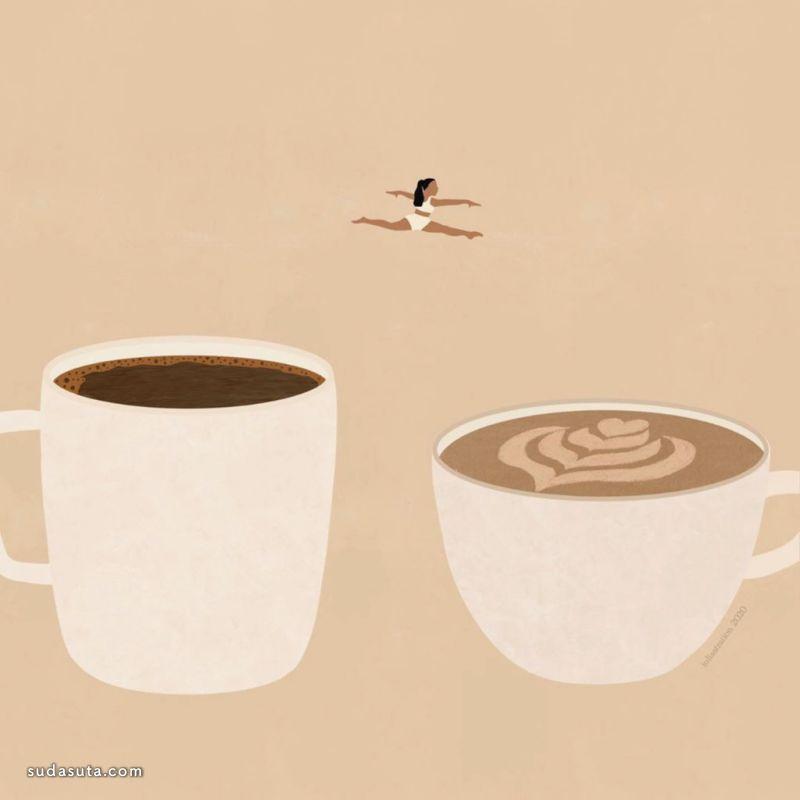 Luliastration 咖啡色 商业插画欣赏