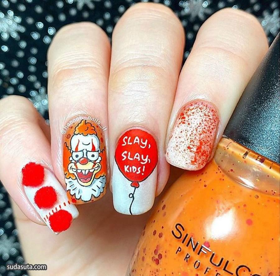 万圣节的可爱指甲 美甲设计欣赏