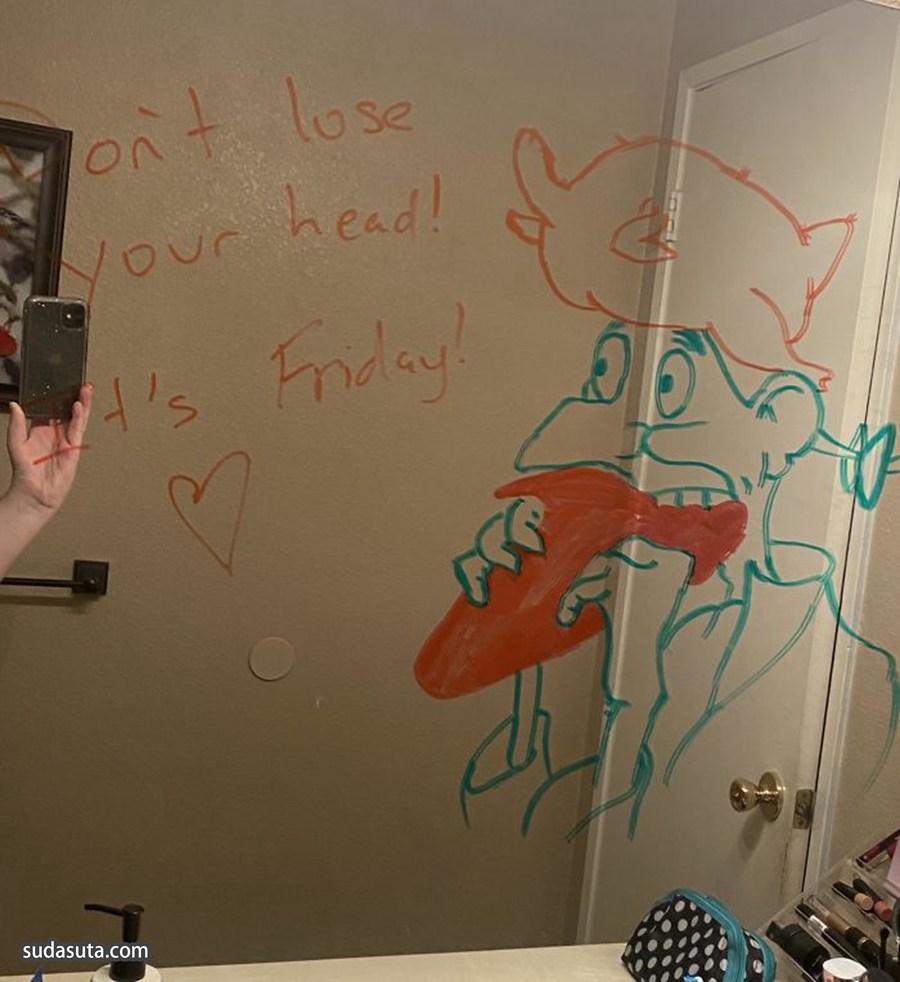 Lukas Garnelis 镜子上的留言
