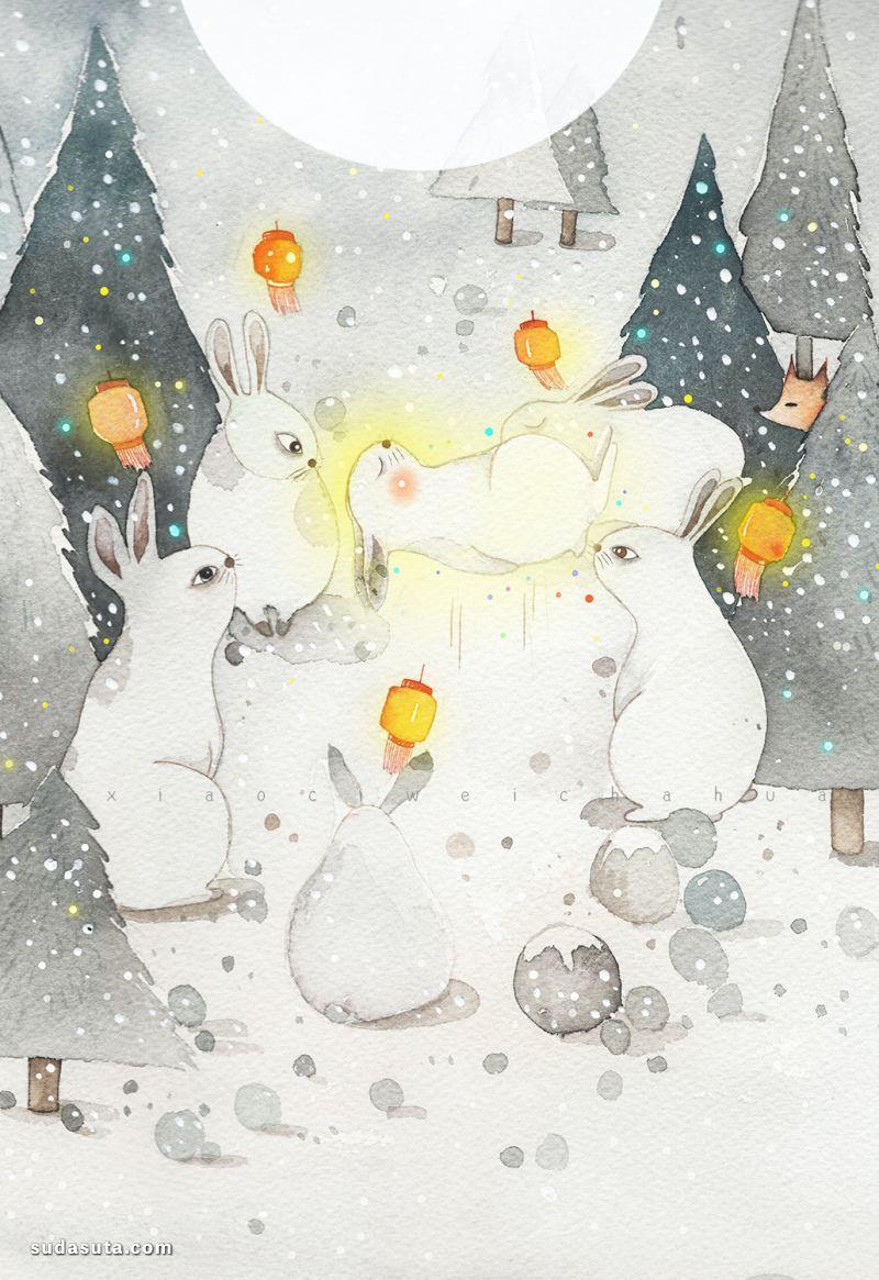 小刺猬 月亮和兔子 温暖的手绘插画欣赏