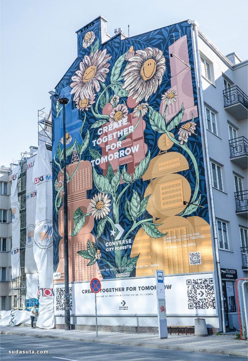 Maciek Polak 和 Dawid Ryski 巨大的城市涂鸦