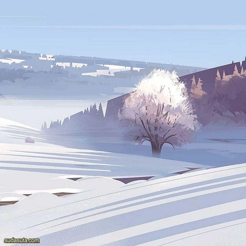 Abraham Rochat 矢量风景插画欣赏